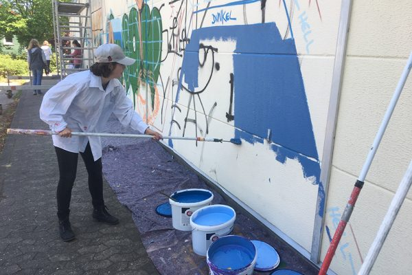 Graffiti Workshop gestaltet Fassade